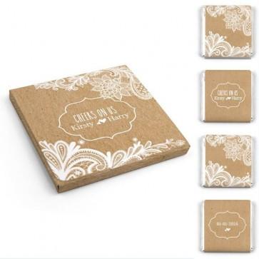 Chocolaatjes in Hoesje huwelijksbedankjes Vintage Lace