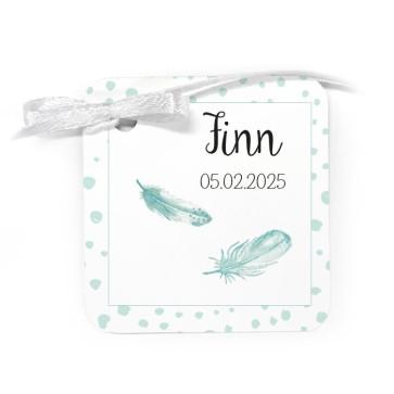 Bedankkaartje geboortebedankjes Feather