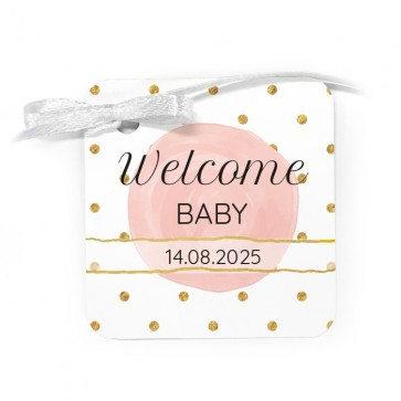 Bedankkaartje geboortebedankjes Pink & Gold