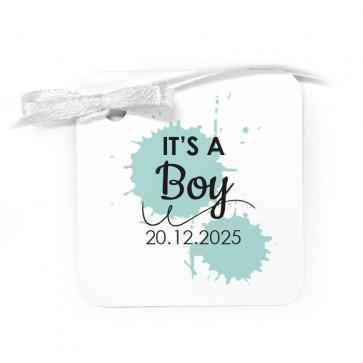 Bedankkaartje geboortebedankjes Splatter Blauw