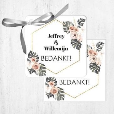 Bedankkaartjes Huwelijksbedankje Botanical Geo