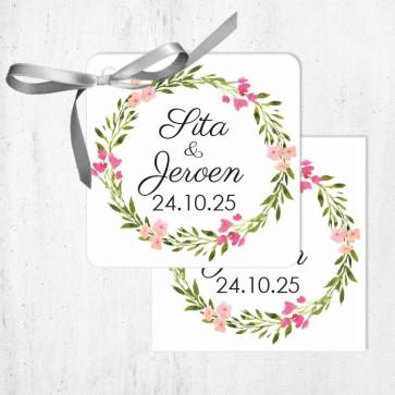 Bedankkaartje huwelijksbedankje Bohemian Flowers