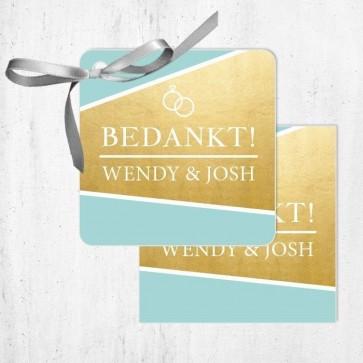 Bedankkaartjes huwelijksbedankje Gold Foil