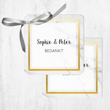 Bedankkaartjes huwelijksbedankje Marble & Gold