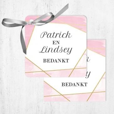 Bedankkaartjes huwelijksbedankjes Lines Roze
