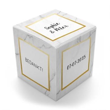 Gepersonaliseerd Snoepdoosje Huwelijksbedankje Marble & Gold