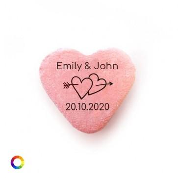 Bedrukte Vruchtenhartjes huwelijksbedankjes Arrow Hearts
