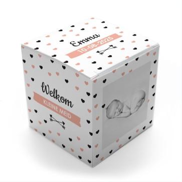 Gepersonaliseerd Snoepdoosje Geboortebedankje - Heart Dots Roze