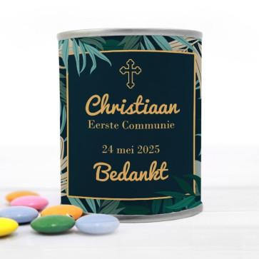 Blikje met Chocolade Pastilles Commmunie bedankje Exotic Jungle