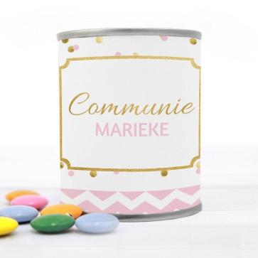 Blikje met Chocolade Pastilles Commmunie bedankje Gold Confetti