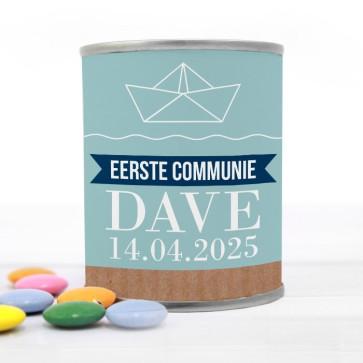 Blikje met Chocolade Pastilles Commmunie bedankje Nautical
