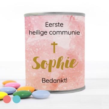 Blikje met Chocolade Pastilles Commmunie bedankje Watercolour Cross Roze