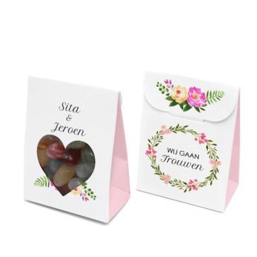 Bruiloftsdoosje huwelijksbedankje - Bohemian Flowers