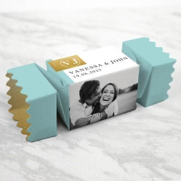 gold foil huwelijksbedankje twist doosje met merci vulling