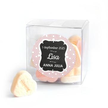 Candy Cube Geboortebedankje Baby Square Roze