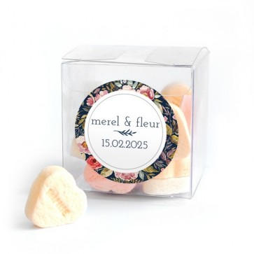 Candy Cube geboortebedankje Duo Flowers