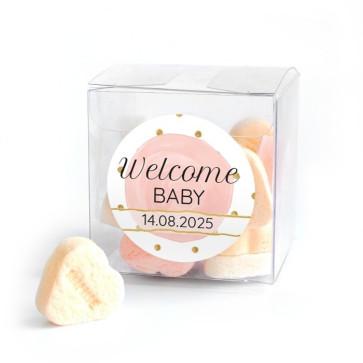 Candy Cube geboortebedankjes Gold & Pink