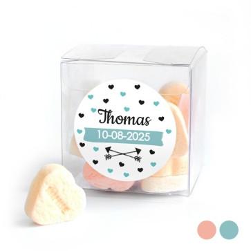 Candy Cube geboortebedankje Heart Dots Blauw
