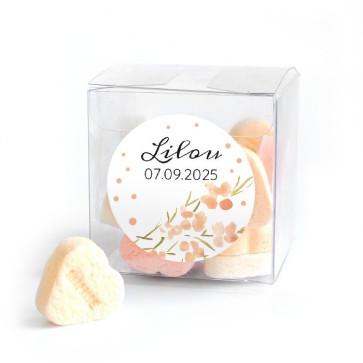 Candy Cube geboortebedankje Peach Dots