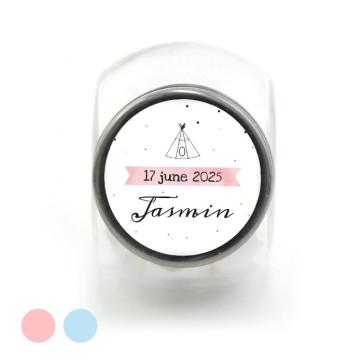 Candy Jar geboortebedankje pink