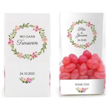 Clear Sweet Bag Bruiloft Bedankje Bohemian Flowers