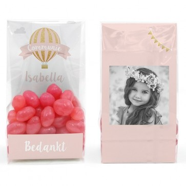 Clear Sweet Bags communiebedankjes Pink Balloon
