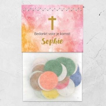 Flowerbags Communie bedankje Watercolour Cross Roze