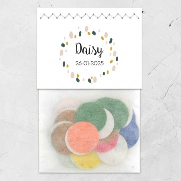 Flowerbag geboortebedankje ontwerp zelf