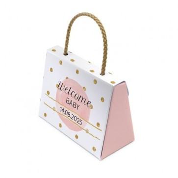 Gepersonaliseerd Tasje Geboortebedankjes Gold & Pink