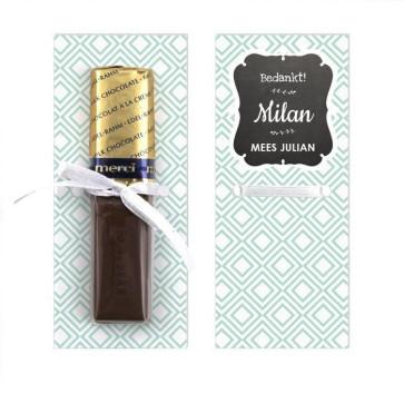 Merci Chocolaatjes Geboortebedankjes Baby Square Blauw