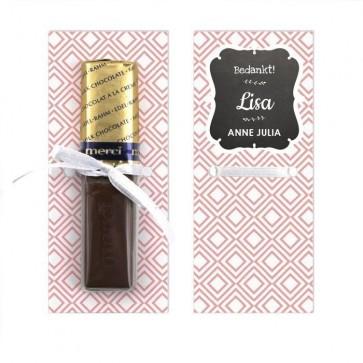 Merci Chocolaatje Geboortebedankje Baby Square Roze