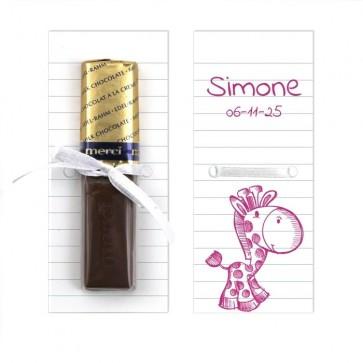 Merci Chocolaatje geboortebedankje Doodle Roze