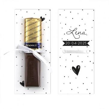 Merci Chocolaatje Geboortebedankje Stipples