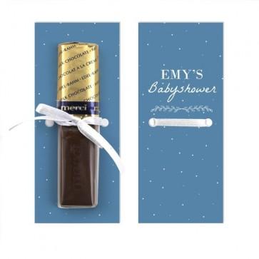 Merci Chocolaatje Geboortebedankje Dreaming - Blauw