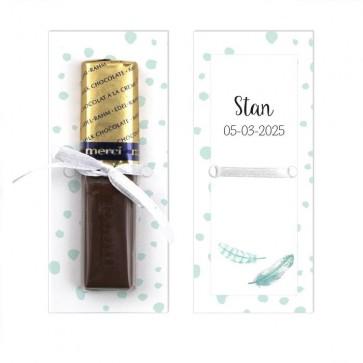 Merci Chocolaatje Geboortebedankje Feather Blauw