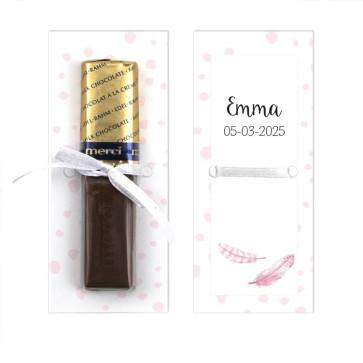 Merci Chocolaatje Geboortebedankje Merci Roze