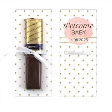 Merci Chocolaatjes Geboortebedankjes Gold & Pink