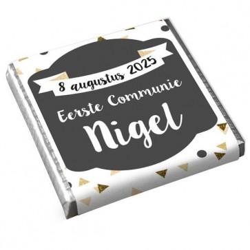 Mini Chocolaatje Communie bedankje Gold Triangle