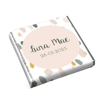 Mini Chocolade Geboortebedankje Blushed Roze