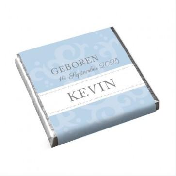 Mini Chocolade Geboortebedankje Classic Baby Blauw
