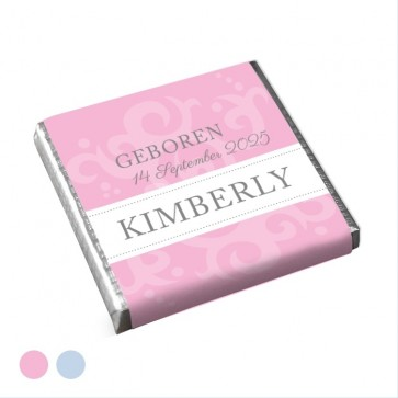 Mini Chocolade Geboortebedankje Classic Baby Roze