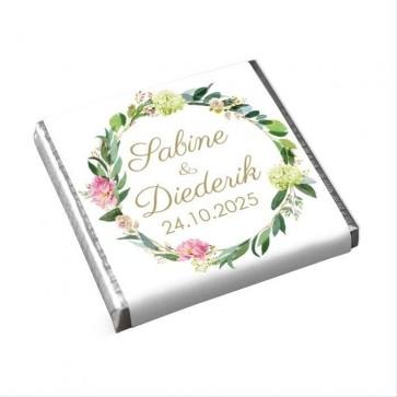 Mini Chocolaatjes huwelijksbedankjes Bohemian Flowers