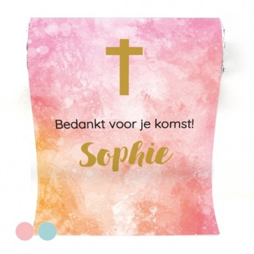Mini Mentos Communie bedankje Watercolour Cross Roze
