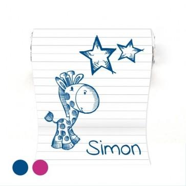 Mini Mint to Be geboortebedankje Doodle Blauw