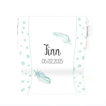 Mini Mint to Be Geboortebedankje Feather Blauw