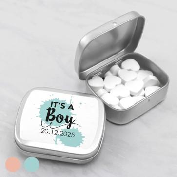 Sweet Tin geboortebedankje blauw