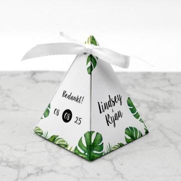 Piramide doosje huwelijksbedankje - Botanical