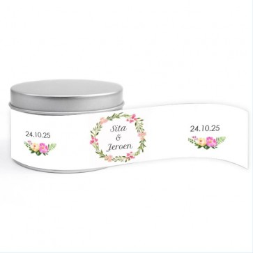 Round Tin huwelijksbedankje Bohemian Flowers