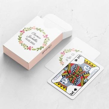 Gepersonaliseerde speelkaarten huwelijksbedankje - Bohemian Flowers - bovenaanzicht
