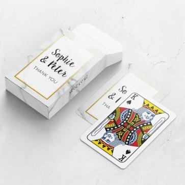 Gepersonaliseerde speelkaarten huwelijksbedankje - Marble & Gold - bovenaanzicht